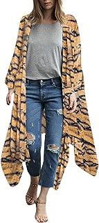 Women's Leopard Floral Print Flowy Kimono Cardigan Long Sleeve Open Front Lightweight Maxi Dress