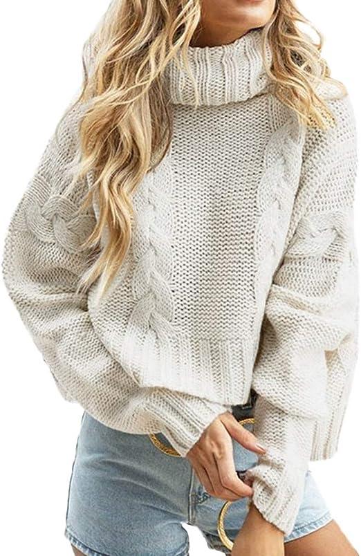 Women High Neck Sweater Knitwear Casual Ruffle Puff Sleeve Jumper Blouse Top UK