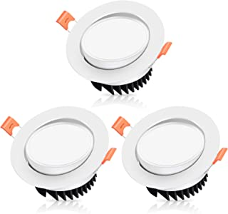 Recessed Ceiling Lighting,HOOBAY Non Dimmable Gimbal Airtight LED Adjustable 12W 3inch Downlight for Wire Shelf,Bookshelf ...