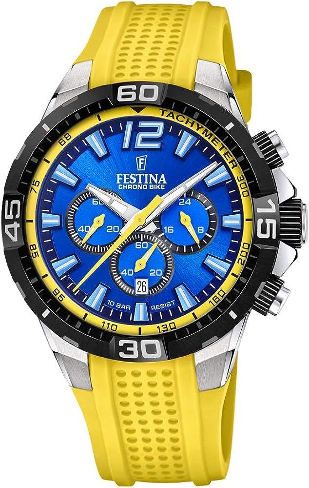 Festina orologio cronografo da uomo con cassa in acciaio e cinturino in silicone F20523/5