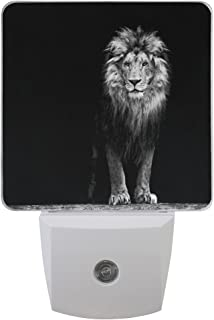 ALAZA 2 Pack Beautiful Lion Black LED Night Light Dusk to Dawn Sensor Plug in Night Home Decor Desk Lamp for Adult