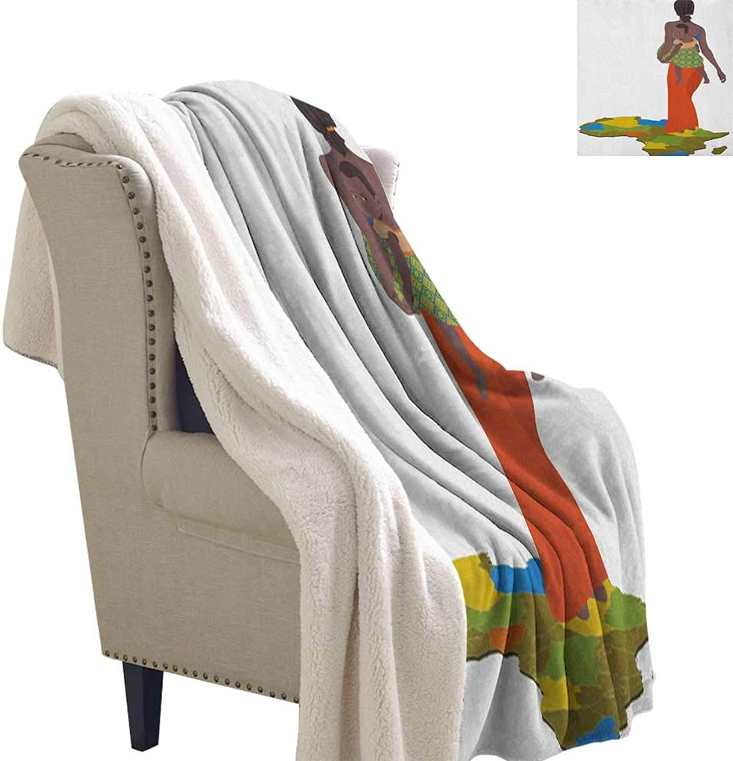 Suchashome African Woman Cozy All-Season Berber Fleece Throw Blanket Mother Carrying Baby Girl on Her Back Africa Country Culture Continent Map Lightweight Blanket 60x32 Inch Multicolor