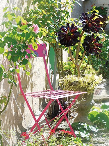 Rosa Klappstuhl - Exklusives Künstlermotiv, XXL Bild / Wandbild, Größe: 90 x 120 cm Hoch-Format, Digital-Druck auf Acrylglas 5 mm. Stuhl Blume Blüte Wiese Natur Garten pink grün Bild groß Kunst