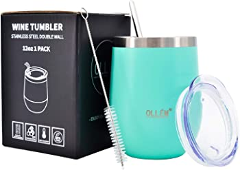 Ollem 12oz Stainless Steel Insulated Wine Tumbler with Lid and Straw