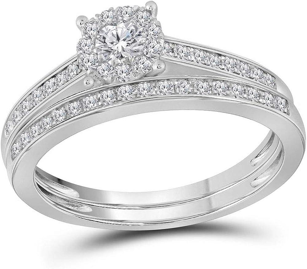 14kt White Gold Round Diamond Slender Halo Bridal Wedding Ring Band Set 1/2 Cttw