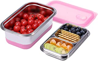 Hoxierence Lunch Box for Kids Bento Box SUS 304 18/8 Fine Stainless Steel 2 Layer Lunch Box, School Lunch Container, Meal Fruit Snack Packing for Picnic Outdoors - Pink