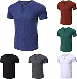 Tickas Summer Tops,Men Short Sleeved T-shirt O Neck Buttons Solid Street Summer Tees Casual Tops