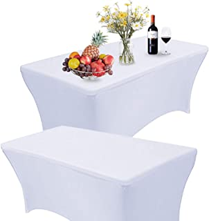 Reliancer 2 Pack 468FT Rectangular Spandex Table Cover Four-Way Tight Fitted Stretch Tablecloth Table Cloth for Outdoor Party DJ Tradeshows Banquet Vendors Weddings Celebrations (2PC 6FT, White)