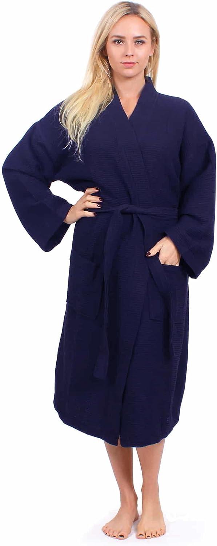 Turkuoise Unisex Long Waffle Robe, Polycotton Kimono Bathrobe Made in Turkey