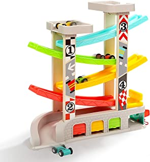 TOP BRIGHT Toddler Toys Race Track Car Ramp Racer for 2 3 Year Old Boy Girl Gifts - with Parking Lot, Gas Station & 4 Wooden Cars