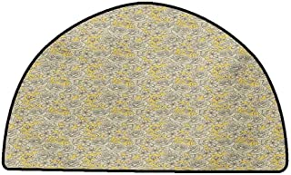 Rug Bathroom Mat Vintage,Hand Drawn Romantic Blooming Roses and Daisies Botanical Illustration,Earth Yellow and Beige,W35 x L24 Half Round Carpet Flooring