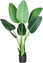 Fopamtri Artificial Bird of Paradise Plant 4 Feet Fake Palm Tree with 8 Trunks Faux Tree for Indoor Outdoor Modern Decorat...