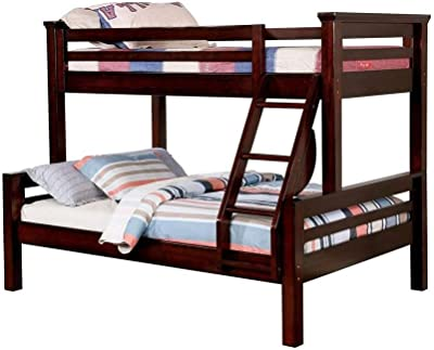 Benjara Wooden Twin Over Full Size Bunk Bed with Angled Ladder, Brown