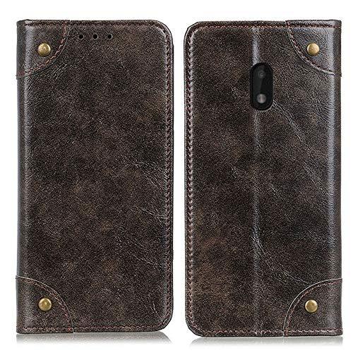MAXJCN Funda compatible con Nokia C1 Plus, funda de piel tipo cartera, funda de piel de primera calidad, funda de TPU suave, ranura para tarjetero, función atril magnética plegable (color café)