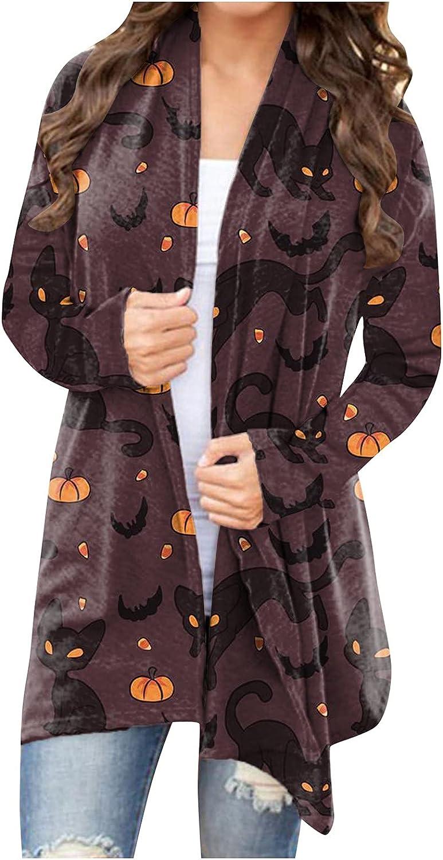 XSSFCC Women Open Front Halloween Cardigan Sweaters Lightweight Long Sleeve Shrugs