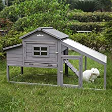 ★ Weatherproof Asphalt Roof -- prefect for Outdoor use, Instead of CHEAP WOODEN ROOF that will easily broken after a month or two use outdoors. ★ Chicken coop with nesting box & Unique design UV Proof Run Panel for chickens, rabbits and other small a...