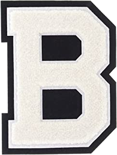 B - White on Black - 4 1/2 Inch Heat Seal/Sew On Chenille Varsity Letter