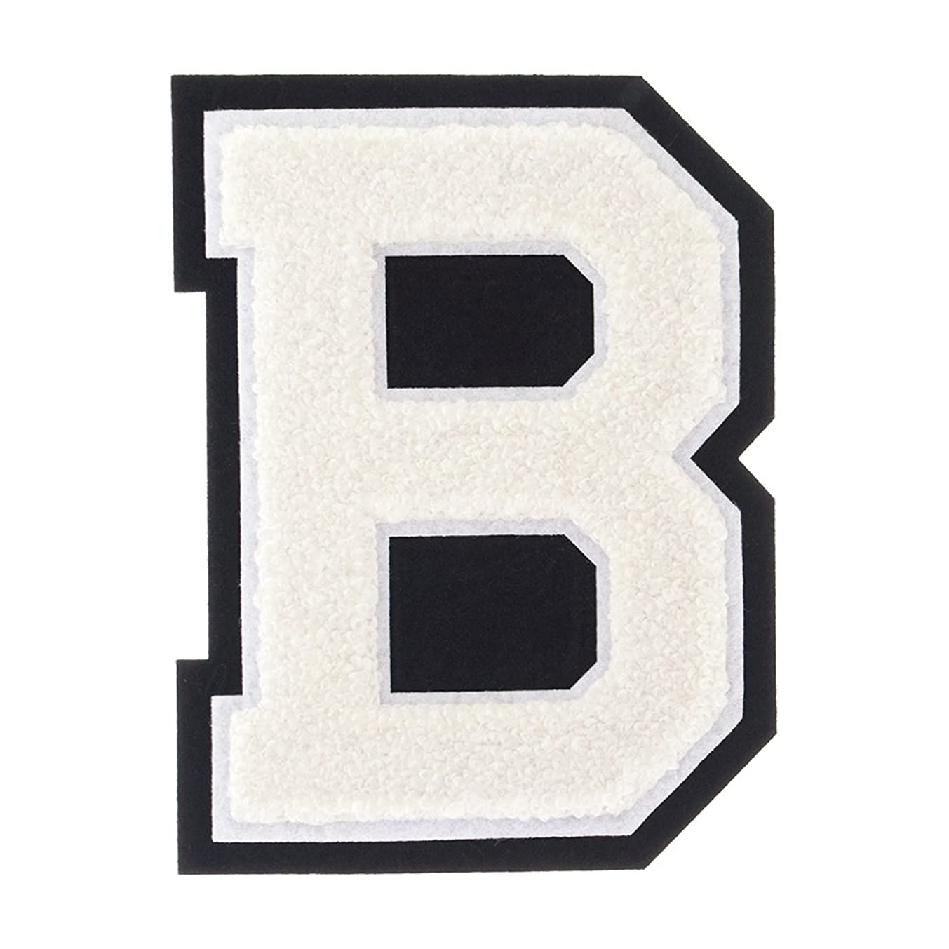 B - White on Black - 4 1/2 Inch Heat Seal/Sew On Chenille Varsity Letter