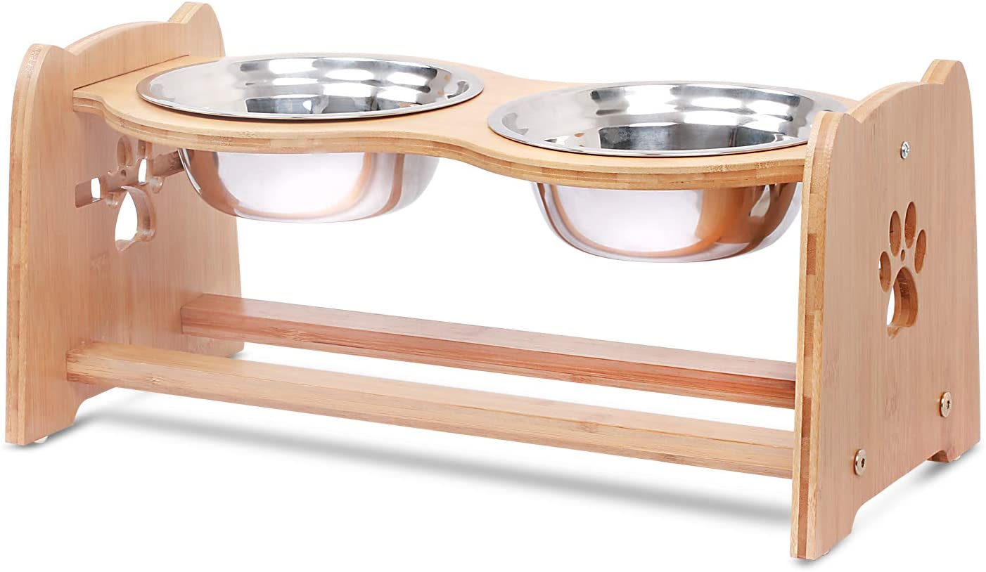X-ZONE PET Raised Pet Bowls for latest Adjustable and Seasonal Wrap Introduction Dogs Cats Bamboo