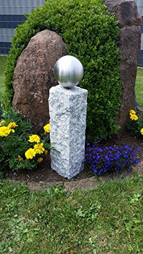 GRANIT Palisade Säule 52cm mit 120mm Edelstahlkugel Garten Deko Stele V2A
