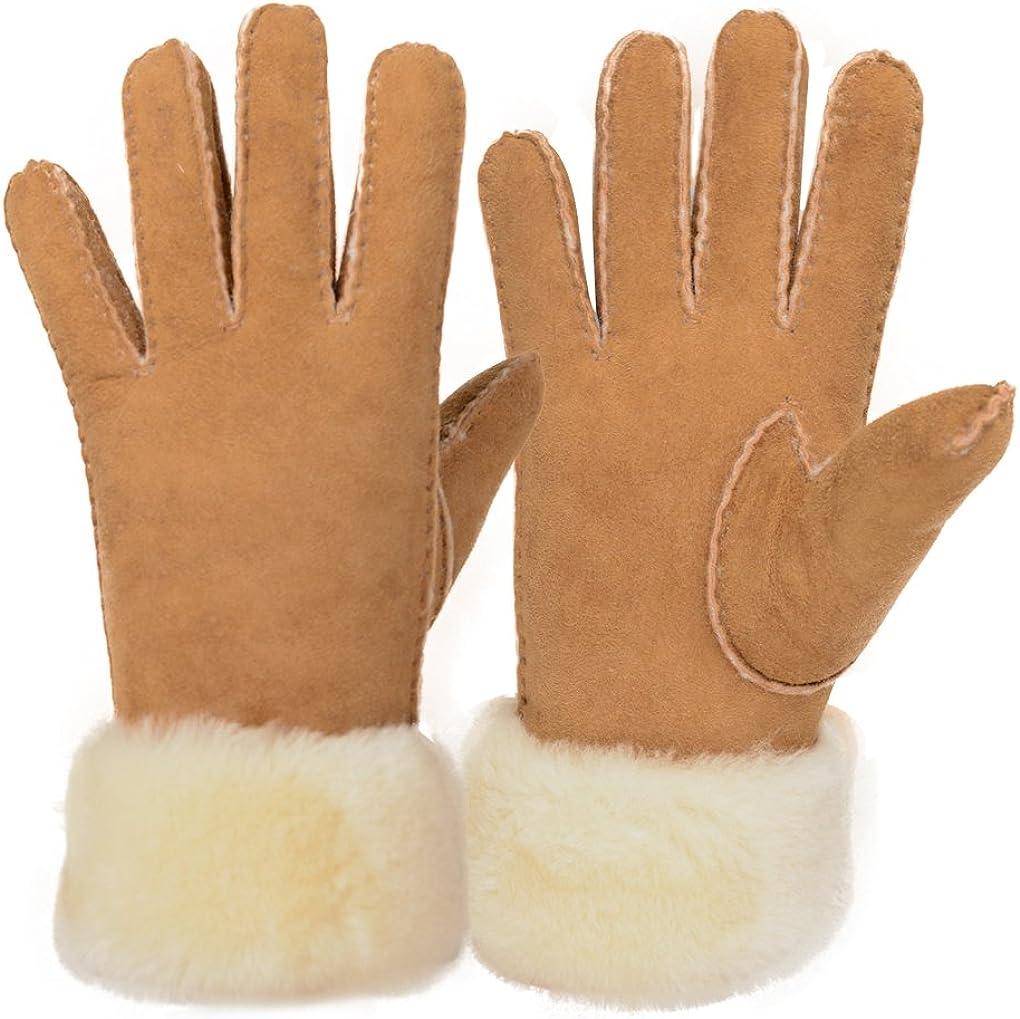 Furoom women's sheepskin glove wool cuff