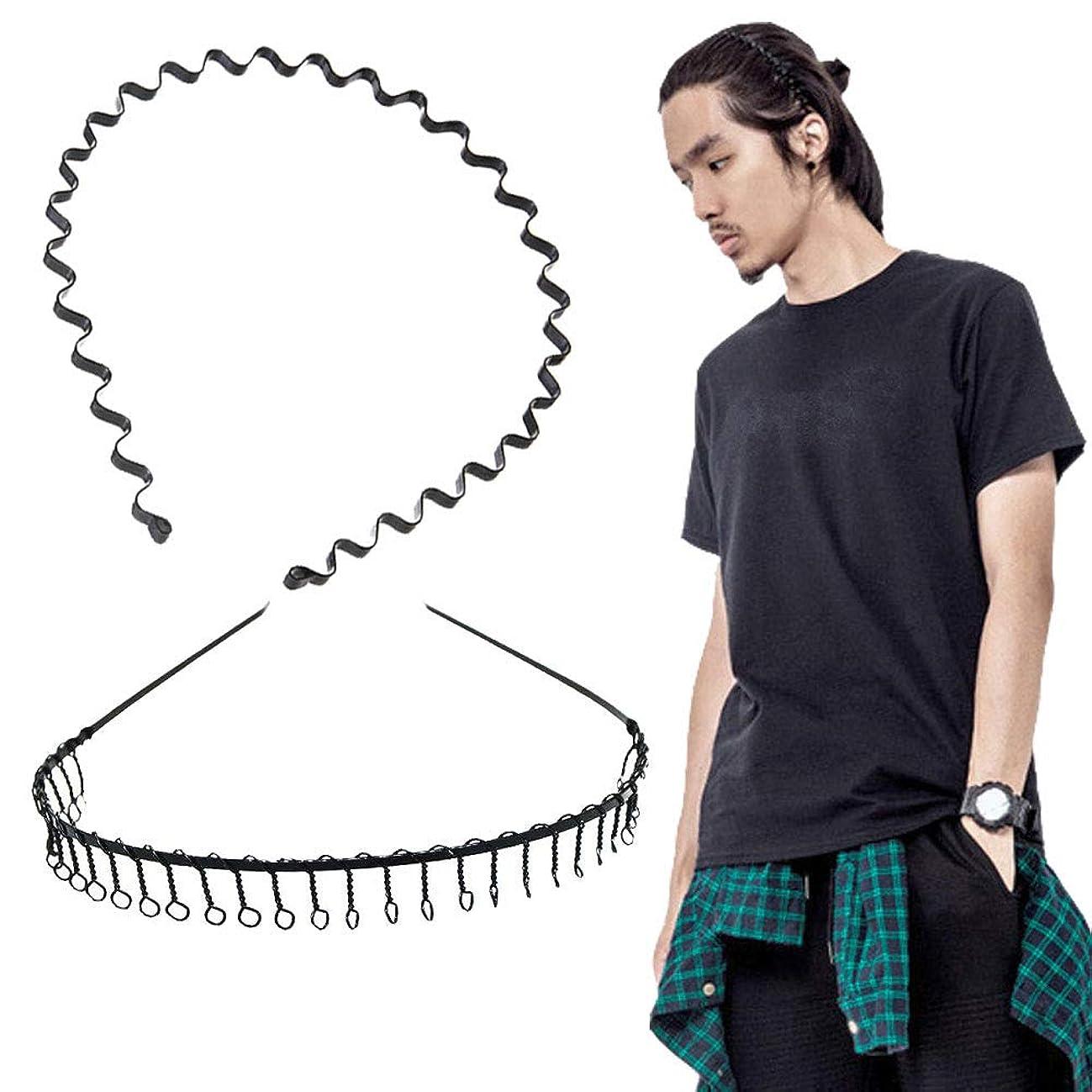コック軽く減らすshefun メンズ カチューシャ スプリング ヘアバンド 鉄 波型 くし付き 滑り止め 痛くない 黒 シンプル 前髪 髪飾り 2本セット JP159