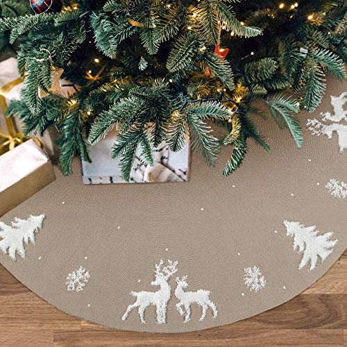 LOMOHOO XMAS Tree Skirt 48 inches Knitted Christmas Tree Skirt,3D Elk Xmas Tree Base Cover Mat,Chunky Knitted Tree Collar Tree Skirt for Christmas Decorations Indoor Outdoor Holiday Party(Beige)