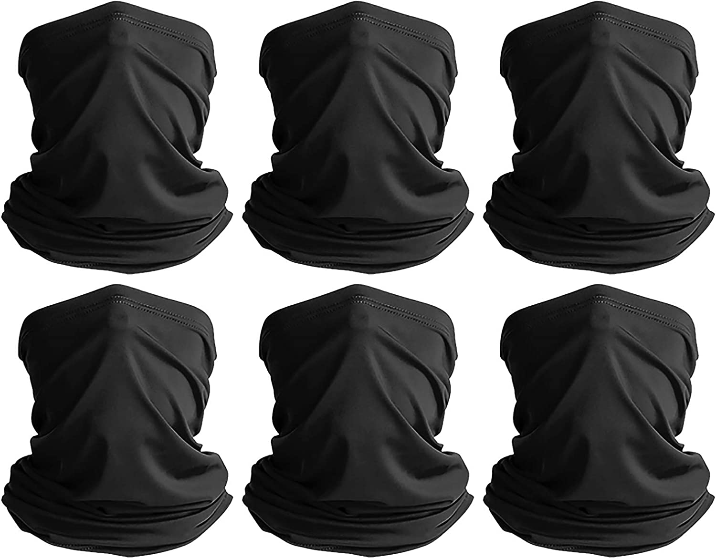 VULKIT Neck Gaiter 6 Packs Breathable Face Cover Bandana Balaclava for Men and Women UV Protect