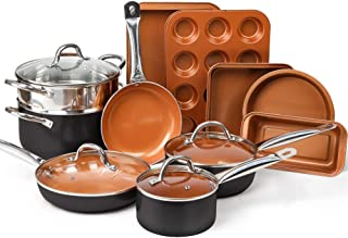 SHINEURI 10 Peices Copper Nonstick Cookware Set & 5 Pieces Bakeware Set  - Dishwasher & Oven Safe, PFOA / PTFE Free (15 Piece-10 Pieces Pot and Frying Pan Set & 5 Piece Baking Cookware Set(Dark))