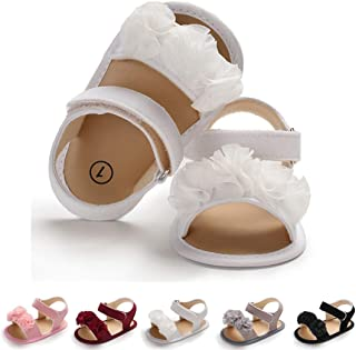 Baby Girls Shoes Flower Suede Soft Non-Slip Sole Infant Newborn PU Leather Summer Sandals Toddler First Walker Crib Shoes(0-18Months)