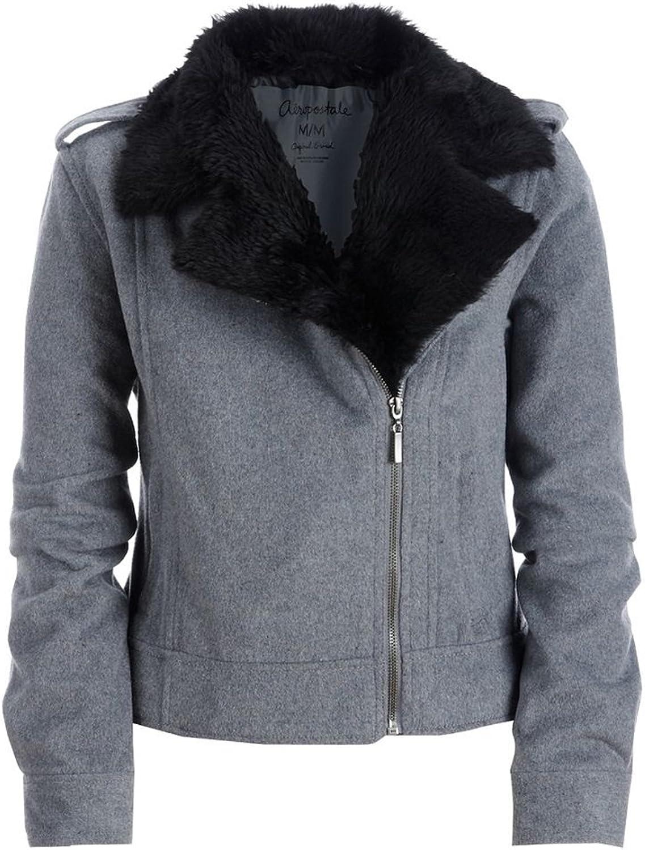 Aeropostale Womens Zip Up Faux Fur Collar Field Jacket