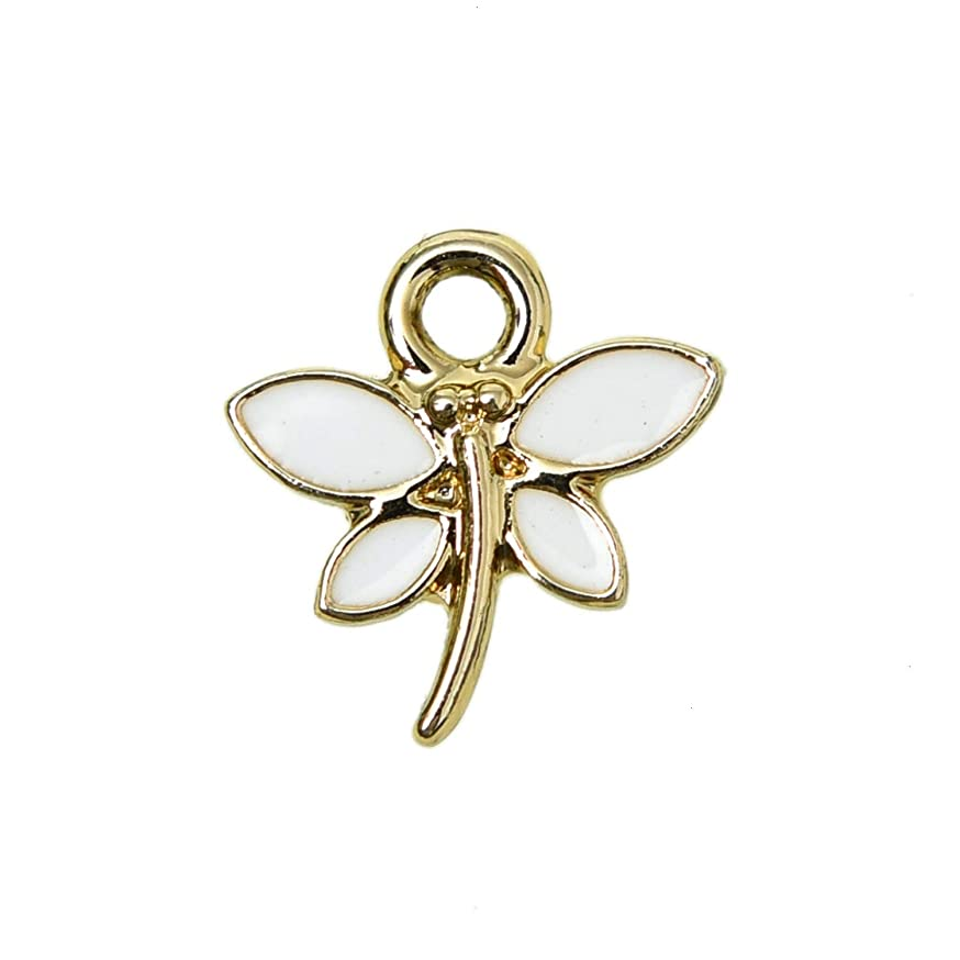 Monrocco 30Pcs Enamel Charms Dragonfly Alloy Enamel Pendants Charms Beads for Jewelry Making and Crafting