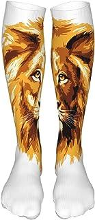 PeiZhengYuanLin-Shop, Calcetines Altos Calcetines de mujer, Ilustración de calcetín del Rey León Calcetín 50CM