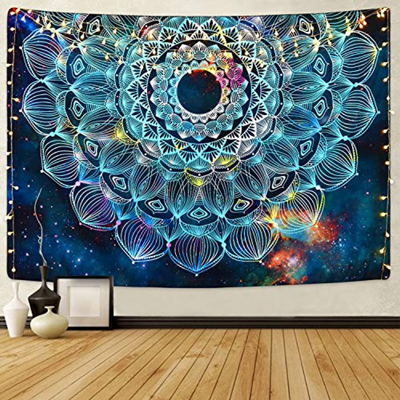 Sevenstars Mandala Floral Tapestry Bohemian Tapestry Fantasy Hippie Tapestry Galaxy Tapestry Mysterious Flower Tapestry Psychedelic Tapestry for Room