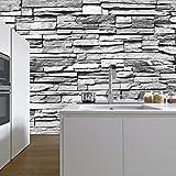 Fototapete Stein 3D 274 x 254 cm inklusive Kleister Steinwand Schwarz Weiß Weiss Mauer Ziegel Tapete - 3