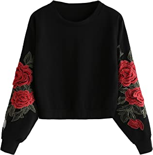 Romwe Women's Casual 3D Embroidered Crew Neck Pullover Crop Top Sweatshirt