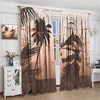 Ocean All Season Insulation Pirate Ship on Misty High Seas Palm Trees Sailboat Vessel Grunge Background Noise Reduction Curtain Panel Living Room W108 x L108 Inch Salmon Army Green