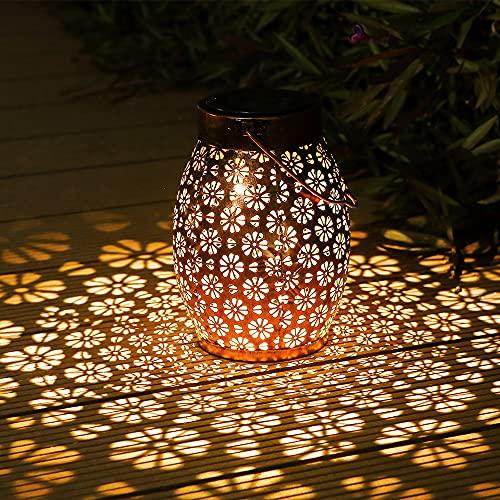 Linterna Solar Para Exterior, Othran Cilíndrico Flor De Metal Linterna Solar Para Exterior, IP44 Impermeable, Lámparas Solares Para Jardín Exterior, Linterna Decorativa LED Para Patio Balcón Terraza