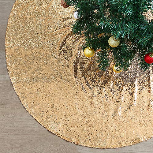 Christmas Sequin Fabric Tree Skirt Glitter Xmas Mats for Xmas Tree Holiday Decoration Home Office Indoor Outdoor Ornamentation 24 Inch Gold