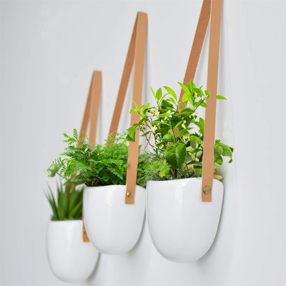 3 X Macetas colgantes para plantas Cerámica Blanca con Correa ...