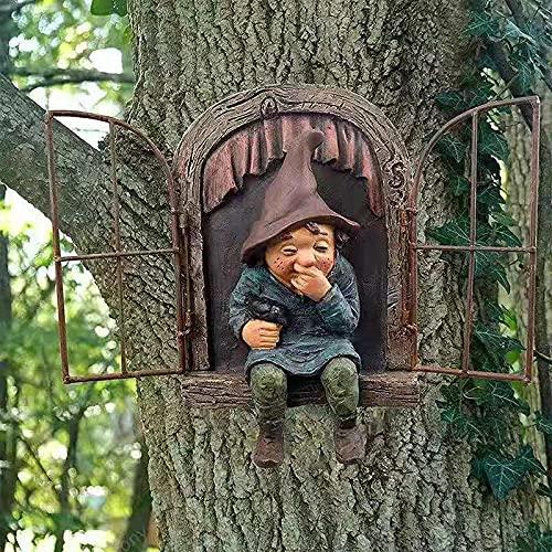 Enano de Resina 3D Adornos de Jardín Estatua Miniatura Divertidas 15cm Figura de Gnomo con Sonrisa...