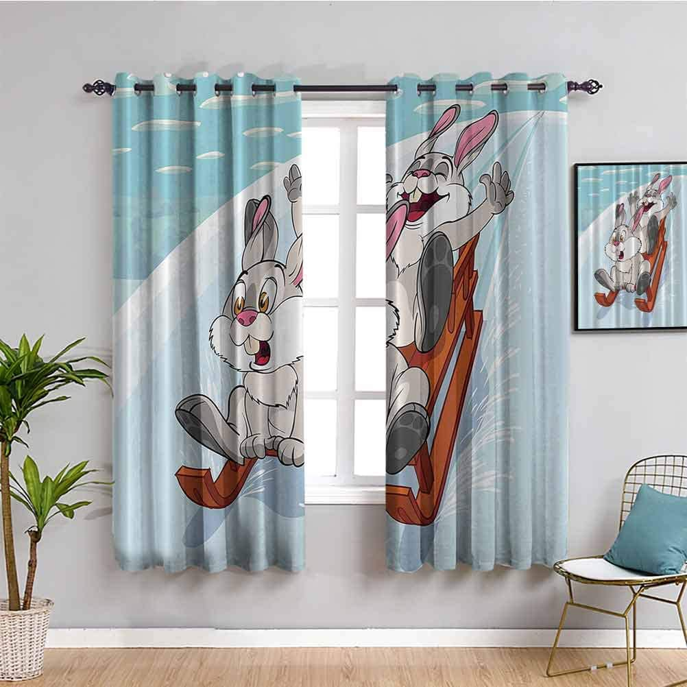 Bunny Curtain Panels Fun Winter Wooden Store Nursery C Sled Kids Same day shipping Funny
