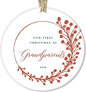 "New Grandparents Gift Ornament 2019 Baby First Christmas Keepsake 1st Time Grandma & Grandpa Dated Present Pregnancy Announcement Farmhouse Tree Decoration Red Berry Ceramic 3"" Flat Circle Gold Ribbon"