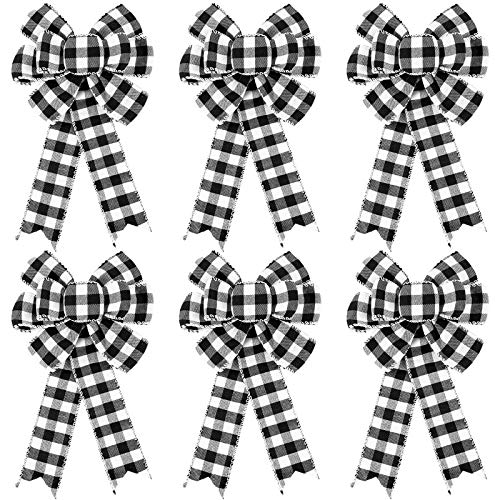 6 Pieces Buffalo Plaid Bow Halloween Thanksgiving Christmas Wreath Bow 10 Inch Black and White Fall Bow for Christmas Tree Crafts DIY Bow Decoration