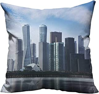 YouXianHome Lovely Cushion Covers CBD, a Commercial Center for Urban Buildings and high Buildings Resists Stains(Double-Sided Printing) 20x20 inch