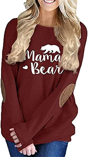 onlypuff Casual Loose Fit Pocket Shirt for Women Cute Mama Bear & Printed Tunic Tops Round Neck