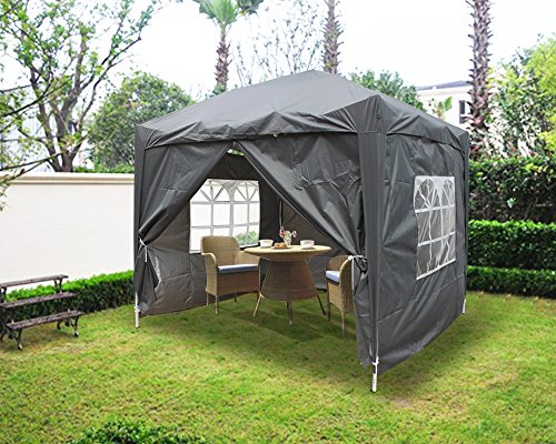 Greenbay 2x2M Pop-up Gazebo Outdoor Garden Party Tent Folding Gazebo with 4 x Sidewalls | 4 x Leg Weight Bags | Carrying Bag | Anthracite
