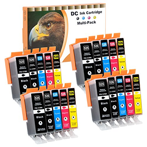 D&C 20x Druckerpatronen Kompatibel für Canon PGI-525 CLI-526 für Canon Pixma MG5300 MG5340 MG5350 MG6250 MG8150 MG8250 MX885 MX895 IP4840 IP4850 IP4900 MG5140 MG5150 MG5240 MX710 MX715 MG6100 MG6150
