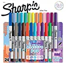 Sharpie Electro Pop Permanent Markers, Ultra Fine Point Markers, Assorted Colors, 24 Count