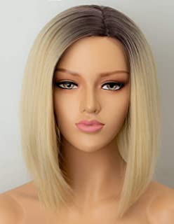 Persephone Blonde Bob Wig Synthetic with Side Part Brown Roots Ombre Short Blonde Wigs for Women